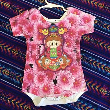 Our Lady of Guadalupe Onesuit for Baby - Pink Flowers
