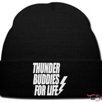 thunder buddies for life beanie knit hat