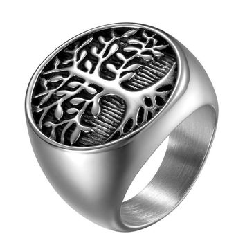 SHIPS FROM USA Punk Men Silver Tree Of Life Ring Casting Stainless Steel Life Tree Rings For Men Ring Jewelry Bague Homme