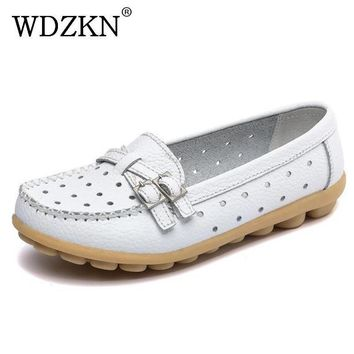 Spring Autumn Flat Shoes Women Casual Shoes Split Leather Flats Buckle Loafers Slip On