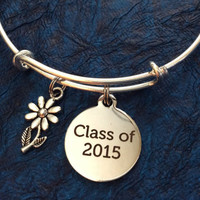 Class of 2015 EXPANDABLE ADJUSTABLE WIRE BANGLE BRACELET GRADUATION GIFT