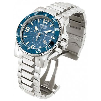 Invicta 10897 Men's Reserve Excursion Blue Textured Dial Blue Bezel Chronograph Stainless Steel Dive Watch