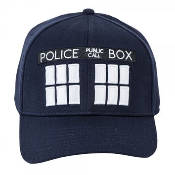 Doctor Who Tardis Police Call Box Embroidered FlexFit Navy Blue Baseball Cap Hat