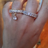 Sterling silver baguette, NEW all around zirconia bangle + rings