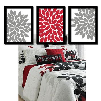 Red Gray Flower Bedroom Wall Art, CANVAS or Prints, Red Gray Flower Bathroom Artwork, Flower Wall Art, Floral Artwork Set of 3, Wall Decor