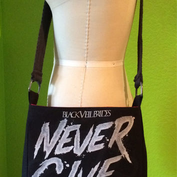 Black Veil Brides Crossbody Bag Upcycled Never Give In T-shirt Purse
