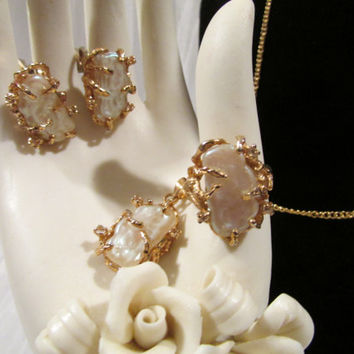 Vintage Set, Mother of Pearl Ring, Earrings, Necklace, Faux, Textured White Glass,  Gold Tone, Rhinestones. Mid-Century Parure, One Owner