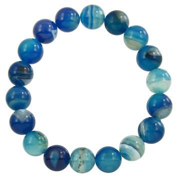 Natural Stone Stretch Beaded Bracelet in Blue Agate