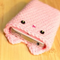 iPhone 5 Cozy - Pink Crochet Kawaii Kitty