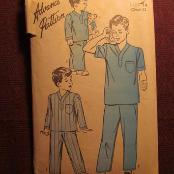 SALE Complete 1940's Advance Sewing Pattern, 4190! Size 14 Boys Retro Sleepwear/Scrubs/Doctor Costume/Pajama Tops/Pajama Bottoms/Retro Sleep