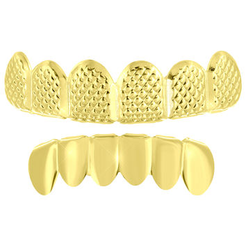 Custom Made Top Bottom Grillz Set 14k Yellow Finish