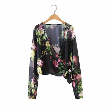 Women cross V neck crop top floral shirts bow tie long sleeve loose chiffon blouses low cut summer casual tops blusas LT1474