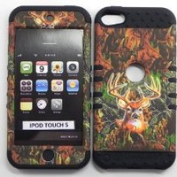 Cell Armor iPod Touch 5 5th Generation Hybrid Case Cover Deer Camo snap on over Black Skin with Fishbone Design Earphone Winder