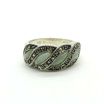 Jade Ring, Vintage Avon Jade & Marcasite Ring, Sterling Silver Band, Size 7