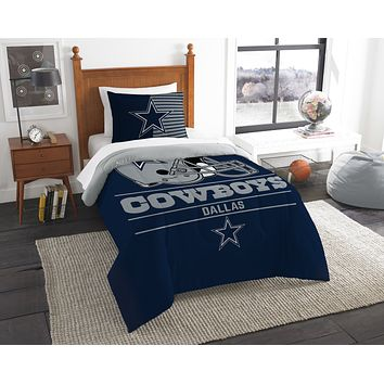 "Cowboys OFFICIAL National Football League, Bedding, ""Draft"" Printed Twin Comforter (64""x 86"") & 1 Sham (24""x 30"") Set  by The Northwest Company"