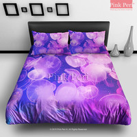Purple Jellyfish Bedding Sets Home Gift Home & Living Wedding Gifts Wedding Idea Twin Full Queen King Quilt Cover Duvet Cover Flat Sheet Pillowcase Pillow Cover 057