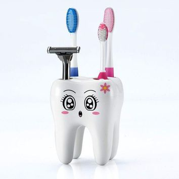 Cartoon Toothbrush Holder with Holes Toothbrush Bracket Container Tooth Shape Bathroom Shelf Bathroom Products