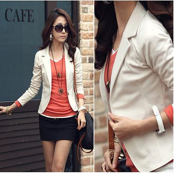 BlueY Hot Fashion Women Blazer 5 colors slim Coats short designer OL Jacket Long Sleeve One Button Suit Ladies blasers feminino