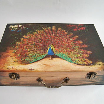 """Suitcase Peacock wooden box, Wooden suitcase, Average  Suitcase12 """"x 8""""  storage cards, letters, favorite things, Peacock Decor"""