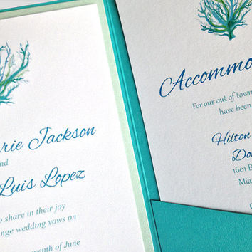 "Coral Wedding Invitation Pocketfold Set - Beach Wedding Invitation Kit ""Sea Coral"" Turquoise Aquamarine - Accommodation RSVP Reception Card"