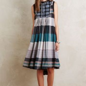 Love Binetti Anais Stripe Dress in Grey Motif Size: