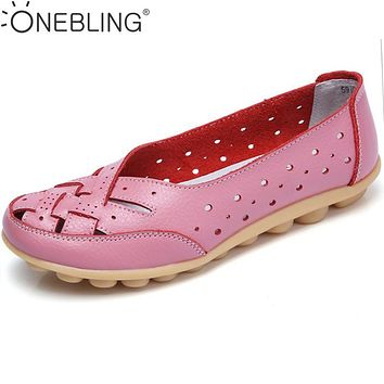 Summer Hollow out Breathable Slip-on Women Casual Flat Shoes 2017 Autumn Fashion Genuine Leather Woven Soft Peas Driving Shoes