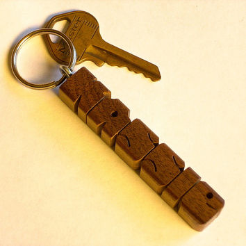 Walnut Name Keychain