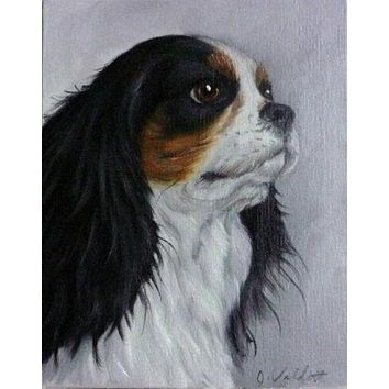 Original Hand Painted Tri Color King Charles Cavalier Oil Painting Dog Portrait