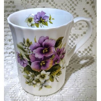 Rare Royal Patrician Purple Pansies Bone China Made in England - Only 2 Available!