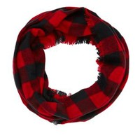 Buffalo Plaid Infinity Scarf by Charlotte Russe - Red Combo