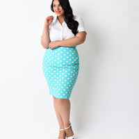 Plus Size Mint & White Dot High Waist Stretch Pencil Skirt