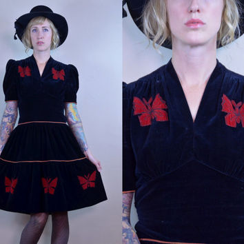 Vintage 1940's Black Velvet & Red Velvet Butterfly Bohemian Cocktail Dress