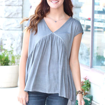 Acid Wash T-Back Blouse {Grey}