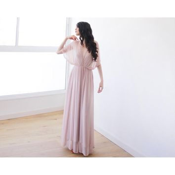 Pink Batwing Sleeves Long Maxi Dress