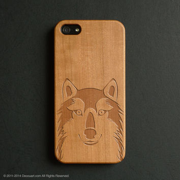 Real wood engraved wolf pattern iPhone case S030