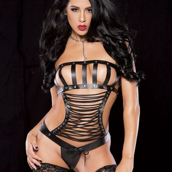Leather Lace Up Bustier