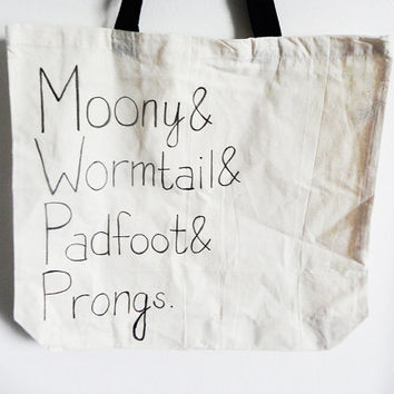 Moony Wormtail Padfoot Prongs. The Marauders at Hogwarts - Harry Potter series - tote bag // hand-drawn
