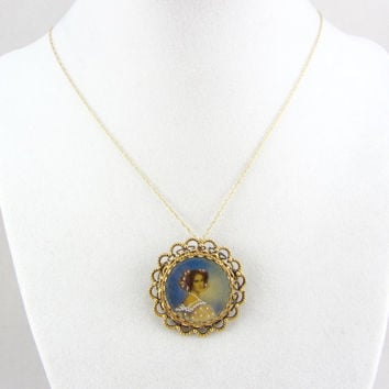 Vintage 14K Portrait Pin Pendant Necklace Painted Georgian Lady Miniature Portrait Brooch Yellow Gold Fine Jewely