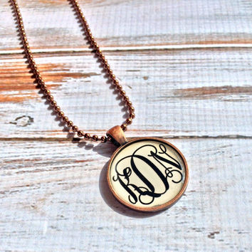Monogram necklace Monogrammed Bridesmaid gift Personalized Mothers Day Gift Monogram Initial Name Necklace Monogram Gift