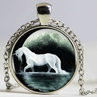 White Unicorn Bronze  Pendant White Unicorn Bead Necklace Retro Choker Statement Necklace Jewelry