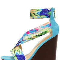 Aloha Blue Print Ankle Strap Wedges