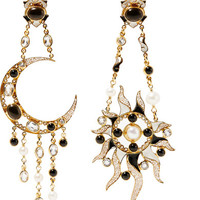 Percossi Papi - Diego Sun and Moon gold-plated multi-stone earrings