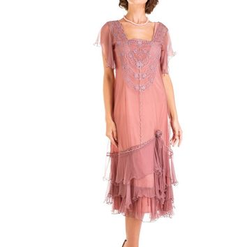 Nataya AL-283 Alexa 1920s Flapper Style Party Dress in Mauve