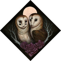 Barn Owl Couple 10x10 PRINT