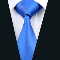 Men Silk Tie Blue Solid Neck Tie 100% Silk Jacquard Ties For Men Business Wedding Party