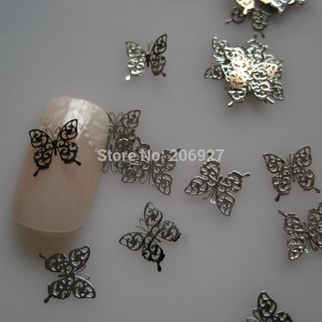 MS244-1 100pcs Silver Cute Butterfly Metal Sticker Nail Art Metal Sticker Nail Art Decoration Non-adhesive Sticker