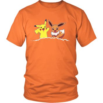 District Unisex Shirt  Pikachu & Eevee pokemon
