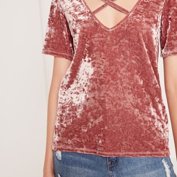 Missguided - Crushed Velvet Cross Front T-Shirt Pink