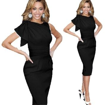 Summer Womens Elegant Ruffles Sleeve Ruched Bandage Casual Party Dress Sexy Slim Fitted Wiggle Sheath Bodycon Dresses Clubwear
