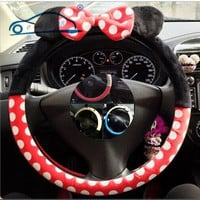 Car Styling Bow Car Steering Wheel Cover/ cute Cartoon Universal Interior Accessories comfortable and good quality  9 designs